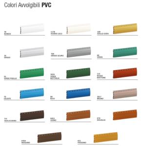 Elenco dei colori disponibili per le nostre tapparelle in pvc.