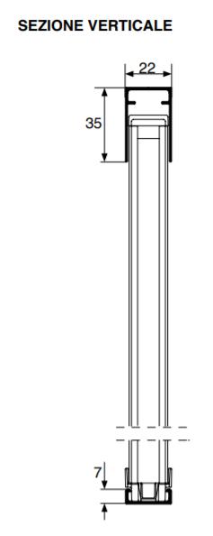 Sezione verticale delle zanzariere plissetate con indicazione degli ingombri