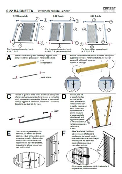 Schema di montaggio per le zanzariere plissettate con le istruzioni passo per passo