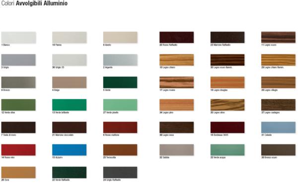Tabella dei colori disponibili per le tapparelle in alluminio